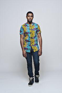 ALL WAX BASEBALL JERSEY / Ubuntou African Men Fashion, African Wear, Mens Fashion, Fashion Menswear, African Shirts For Men, Afro, Baseball Jerseys, Wax, Textiles