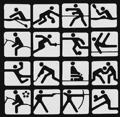 These pictograms were for the 1980 Moscow Olympics submitted by Nikolai Belkow, Mukhina Art School graduate from Leningrad. Olympic Icons, London Olympic Games, Olympic Idea, Otl Aicher, Theme Sport, Time Icon, Gesture Drawing, Greek Art, Black And White Illustration