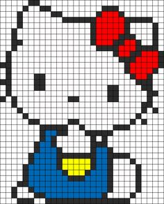 Hello Kitty Perler Bead Pattern / Bead Sprite and like OMG! get some yourself some pawtastic adorable cat apparel! Kandi Patterns, Pearler Bead Patterns, Perler Patterns, Beading Patterns, Cross Stitch Charts, Cross Stitch Designs, Cross Stitch Patterns, Hello Kitty, Pixel Crochet Blanket
