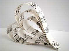 hanging paper heart | Hanging Paper Hearts Recycled Sheet Music Set by OrigamiDelights