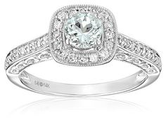 About $400...14k White Gold Aquamarine and Diamond (1/4cttw, H-I Color, I2-I3 Clarity) Engagement Ring, Size 7, http://www.amazon.com/dp/B00KT8S7RQ/ref=cm_sw_r_pi_awdm_Zcv0vb0WMNVXW
