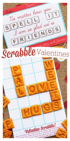 Edible Scrabble Valentines made with Scrabble Cheez-Its. The free printable card has a gameboard inside so kids can strike up a game with their friends. So cute!