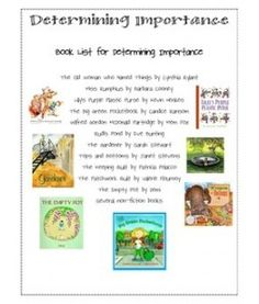 Mentor Texts for Determining Importance