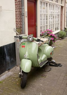 Cherry mint green Vespa