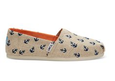 c980e4dae9e Natural Burlap with Embroidered Anchors Women s Classics