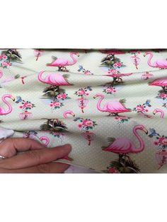 Bomuldsjersey - mint med flamingoer