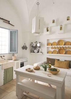 Mediterranean Living kitchen pinned by barefootblogin.com