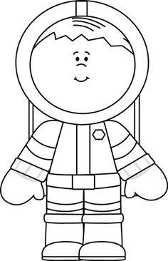 Black and White Boy Astronaut