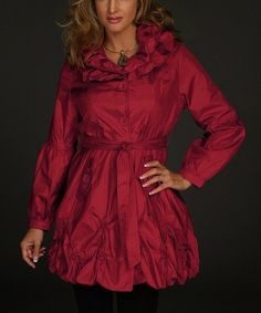 Look what I found on #zulily! Red Ruffle Bubble Trench Coat - Women #zulilyfinds