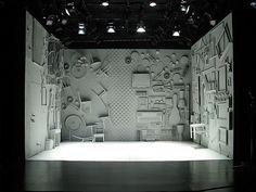 Complex walls, and dramatic lighting. A/simetrik. Created by stage designer: Deb O http://debodesignstudio.com/home.html