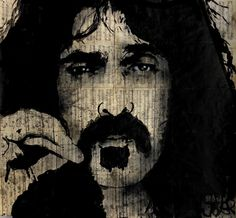 ARTFINDER: Zappa by Loui Jover - sumi ink on vintage sheet music pages.. part of a series of popular culture icons..