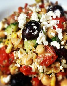 Brown Rice Greek Salad with Feta and Chickpeas - perfect for making ahead!
