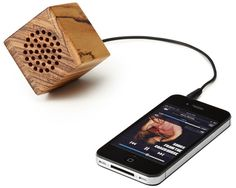Wooden Speaker - where to find: http://www.uncommongoods.com/product/mini-wooden-speaker $35