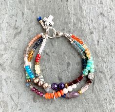 Colorful Multi Gemstone Bracelet, Sterling Silver, Triple Bracelet, Colorful Boho Beaded Bracelet, Three Strand Bracelet, Real Gemstones Strand Bracelet, Gemstone Bracelets, Bracelet Sizes, Sterling Silver Cross, Sterling Silver Bracelets, Peach Moonstone, Amethyst, Circlet, Natural Gemstones