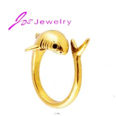 Hot sell plated Gold Wrap shark shaped ring punk ring vintage rings for men animal jewelry factory wholesale #Affiliate
