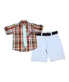 Look at this Red & Teal Plaid Button-Up Set - Infant, Toddler & Boys on #zulily today!