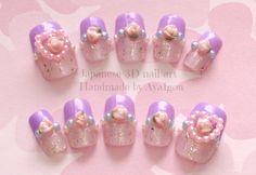Lavender nail kawaii nails nails heart rose glittery by Kawaii Nail Art, 3d Nail Art, 3d Nails, Cute Nails, Romantic Nails, Lavender Nails, Square Acrylic Nails, Pastel Nails, Pastel Goth