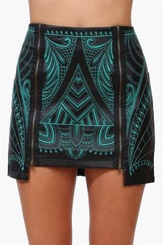 Black and green embroidered mini skirt with two exposed zippers.. DIY the look yourself: http://mjtrends.com/pins.php?name=metal-zippers-for-skirt_1
