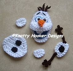 Knotty Hooker Designs: Olaf Inspired Snowman Applique