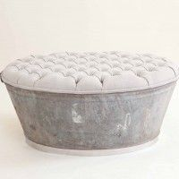 DIY Idea: Re-purposed galvanized tub to an ottoman.   Maybe a good idea for Bouncers bed when we get home