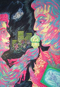 Title: In the evening we eat pistachio ice cream Date: 1990 Technique: Acrylic on canvas Size of work: 200 x 150 cm  Price: 7.700 USD