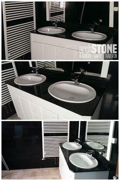 Blat pentru baie din Granit Negru Galaxy Vanity, Bathroom, Dressing Tables, Washroom, Powder Room, Bathrooms, Vanity Organization, Bath, Vanity Desk