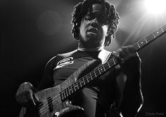 Victor Wooten at Iroquois Amphitheater Louisville KY playing random bass while The Louisville Ballet danced impromptu to his music.