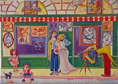 """Le petit oiseau va sortir """"photographe-série des boutiques 1900"""" - Huile sur toile - 33 x 46 cm. Claude, Boutiques, Painting, Decor, Going Out, Oil On Canvas, Board, Photography, Boutique Stores"""