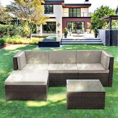 Only US$369.99, iKayaa 5PCS PE Rattan Wicker Patio Garden Furniture Sofa Set W/ Cushions Outdoor Corner Sectional Couch Set - LovDock.com