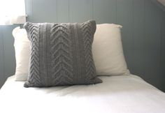 Luxury Wool Lined Staghorn Cable Knit Pillow Sham in Gray | PreciousKnits - Knitting on ArtFire