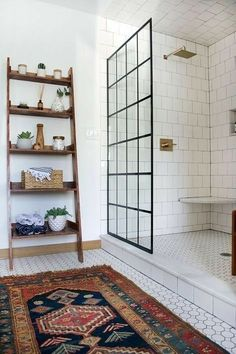 Floor tile and shower door