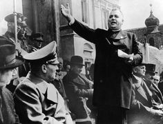 Slovak priest and political leader Jozef Tiso (1887 - 1947) welcomes the Nazis to independent Slovakia, 1939. (Photo by Keystone/Hulton Archive/Getty Images)