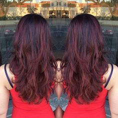 deep red violet base with red balayage! Hair Color And Cut, Cut My Hair, Her Hair, 2015 Hairstyles, Pretty Hairstyles, Hair Highlights, Hair Dos, Fall Hair, Hair Inspiration