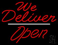 Red We Deliver Open White Line Neon Sign 24 Tall x 31 Wide x 3 Deep, is 100% Handcrafted with Real Glass Tube Neon Sign. !!! Made in USA !!!  Colors on the sign are Red and White. Red We Deliver Open White Line Neon Sign is high impact, eye catching, real glass tube neon sign. This characteristic glow can attract customers like nothing else, virtually burning your identity into the minds of potential and future customers.