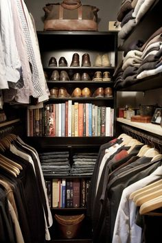 Lovely, organized walk in closet!  Small, but functional!  Love the hanging and shelf combo!