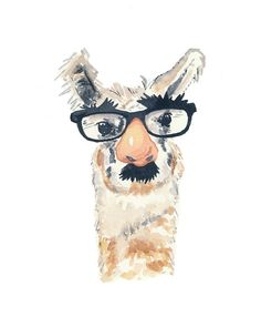Llama Watercolor Print - Fake Nose and Glasses, 11x14 Art Print, Nursery Art