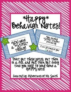 FREE - Positive Student Behavior Notes. Prep and have handy by ...