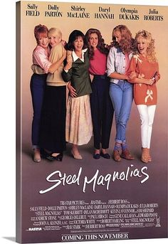 Steel Magnolias is a 1989 American comedy-drama film directed by Herbert Ross that stars Sally Field, Shirley MacLaine, Olympia Dukakis, Dolly Parton, Daryl Hannah and Julia Roberts. Films Cinema, Cinema Tv, Chick Flicks, Dirty Dancing, 80s Movies, Great Movies, Awesome Movies, Plane Movies, Indie Movies