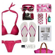 """flamingo on the beach"" by sanddollardubai ❤ liked on Polyvore featuring ViX, Patagonia, Havaianas, OndadeMar and NARS Cosmetics"