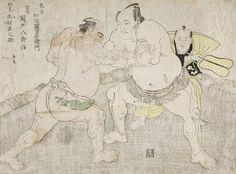 Katsukawa Shunsho (Japan, 1726 - 1792)  Wrestlers Kajigahama Rikiemon and Sekinoto Hachiroji, with the Umpire Kimura Shonosuke, 1785  Print, Color woodblock print; Ooban (double oban), Image and Sheet: 15 x 20 1/8 in. (38.1 x 51.12 cm)  The Joan Elizabeth Tanney Bequest (M.2006.136.328)  Japanese Art Department. LACMA