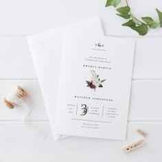 Floral Wedding Invitation, Monogram Invites, Red Flower Wedding, Printed on Premium Cardstock, Peach Perfect