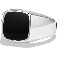 David Yurman Black Onyx Cushion Signet Ring (€365) ❤ liked on Polyvore featuring men's fashion, men's jewelry, men's rings and black