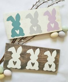 This adorable Easter Bunny Decor is such just the addition to your rustic home decor you are looking for. Without being to cartoonish, the bunnies on this sign offer the perfect distressed, rustic touch your farmhouse/country home is in need of this Easter Holiday. These have been