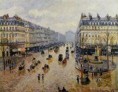 """""""Avenue de l'Opera, Rain Effect"""" - Camille Pissarro"""