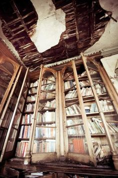 Moldy books in a large bookcase in abandoned English manor house