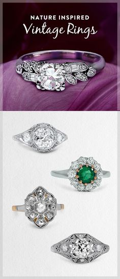 The beauty of the natural world is rendered with unique artistry in these stunning vintage engagement rings.