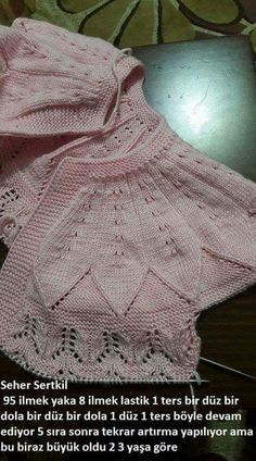 Acıklama ve ornek icin tesekkurler elleriniz dert gormesin [] # dress with a wonderful collar patternThis Pin was discovered by habDiscover thousands of images about baby knit,bebek örgü,bebek roba [] # # # loops start 3 rows haroşa: 8 Baby Knitting Patterns, Knitting For Kids, Crochet For Kids, Baby Shawl, Baby Vest, Baby Cardigan, Baby Afghan Crochet, Crochet Shawl, Knit Crochet