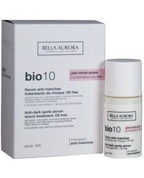 Bio 10 Serum anti-manchas es el producto despigmentante más eficaz de Bella Aurora para pieles mixtas-grasas. Ayuda a combatir las manchas cutáneas de melanina y de lipofuscina,con la mayor concentración de activos despigmentates. Reduce y elimina todas las manchas existentes, previniendo la aparición de nuevas. Asimismo, minimiza el tamaño de los poros, reduce rojeces y marcas post-inflamatorias.