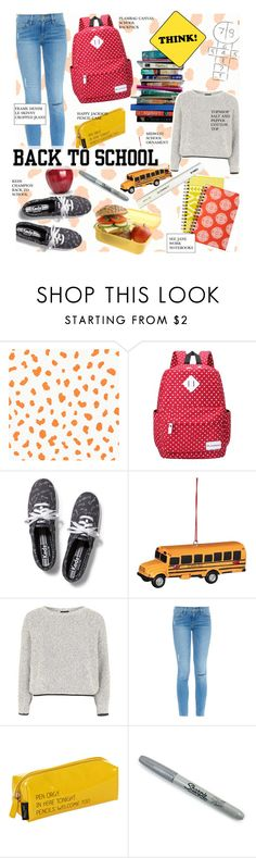 """""""Back to School: New Backpack"""" by kusja ❤ liked on Polyvore featuring Thibaut, 7 For All Mankind, Keds, Topshop, Frame Denim, Happy Jackson, Sharpie, BackToSchool and school"""