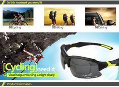 Professional Cycling Polarized Sunglasses Eyewear Men's Black / Yellow Semi-Rimless Frame Gray Lens